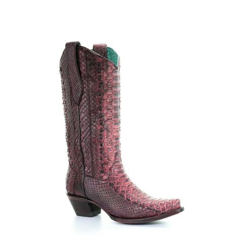 Corral Ladies Red Full Woven Python Boots A3660