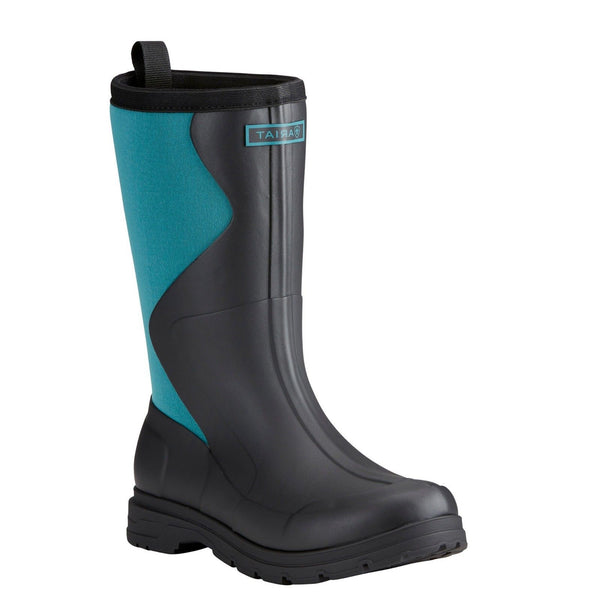 Ariat® Ladies Springfield Dusty Black/Teal Rubber Boots 10021520 - Wild West Boot Store