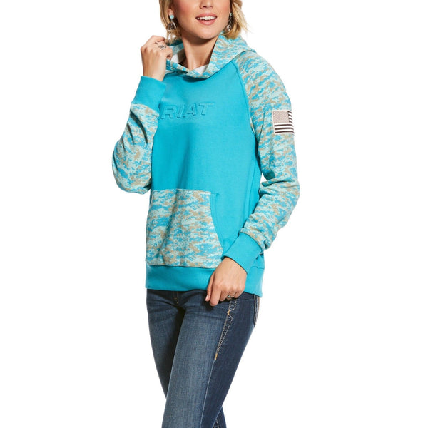 Ariat© Ladies R.E.A.L Peacock Blue Patriot Hoodie Sweatshirt 10025445 - Wild West Boot Store