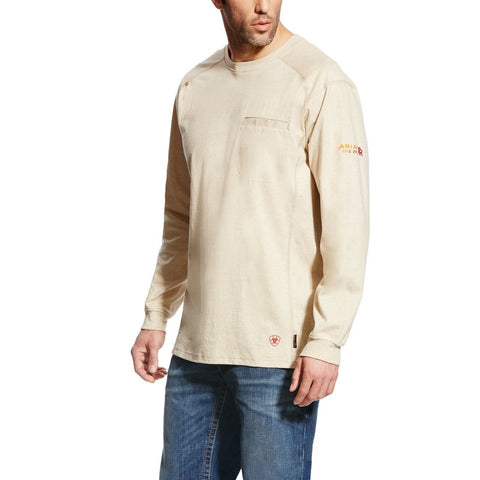 Ariat® Men's FR Air Crew Sand Heather Long Sleeve T-Shirt 10022328