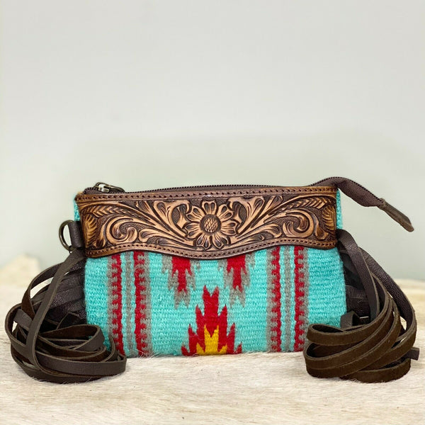 American Darling Blue & Red Saddle Blanket Wristlet  ADBGZ234