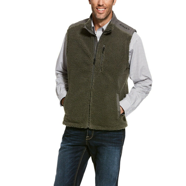Ariat® Men's El Capitan Pile Gun Metal Fleece Full Zip Vest 10027974