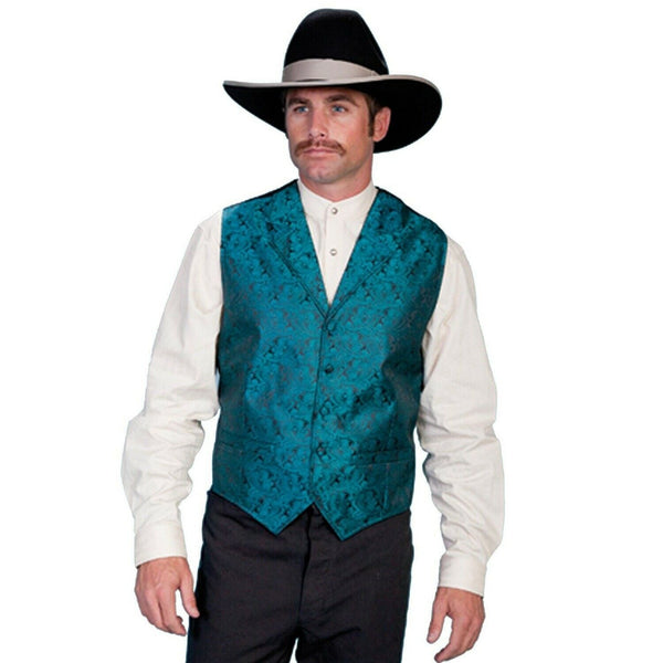 Scully Men's Teal Classic Paisley Vests RW093-TEAL