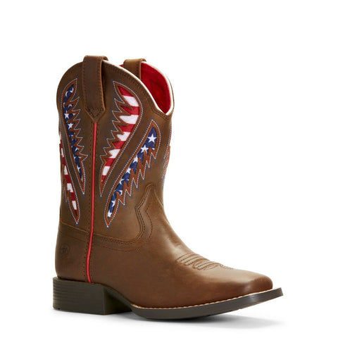 Ariat Kid's Quickdraw VentTEK American Flag Western Boots 10027304 - Wild West Boot Store