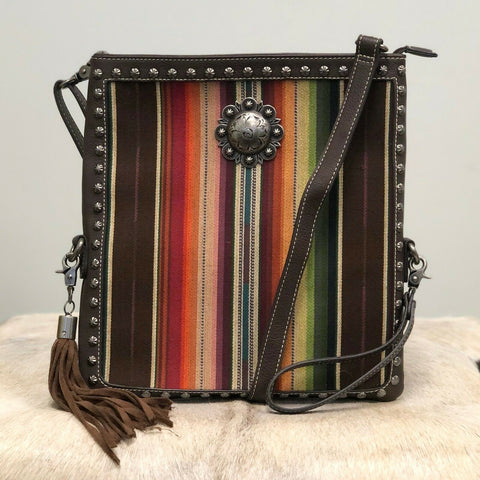 Blazin RoXX Brown Leather with Striped Insert Crossbody N7513497