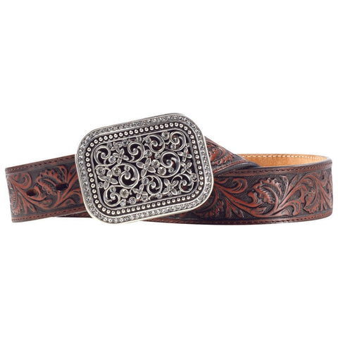 Ariat Ladies Filigree Tooled Dark Brown Leather Belt A10006957