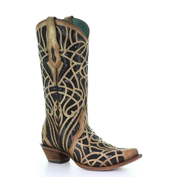Corral Ladies Gold Black Glitter Inlay Embroidery & Studs Boots C3513