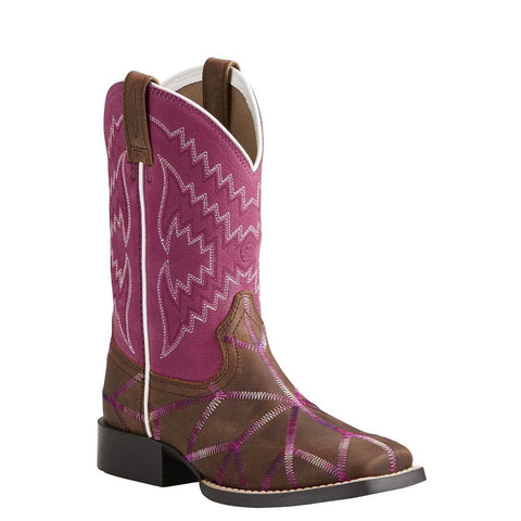 Ariat® Children's Twisted Tycoon Brown & Plum Pink Boots 10021594 - Wild West Boot Store
