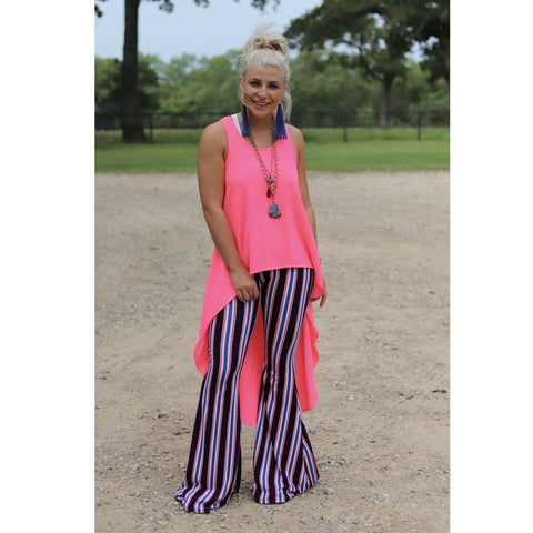 Turquoise Haven Navy & Hot Pink Striped Stretch Bell Bottoms 8007-1123