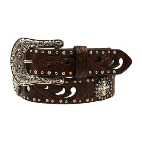 "Ariat Ladies Cross Concho Embossed 1 1/2"" Leather Belt A1518602"