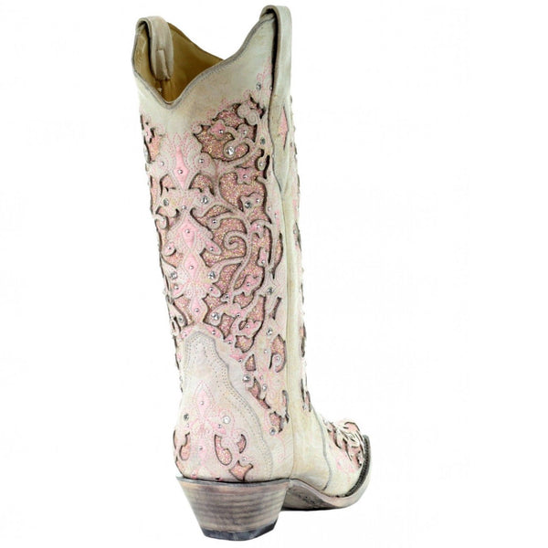Corral Ladies White Pink Glitter Inlay Embroidery & Crystal Boot A3587 - Wild West Boot Store