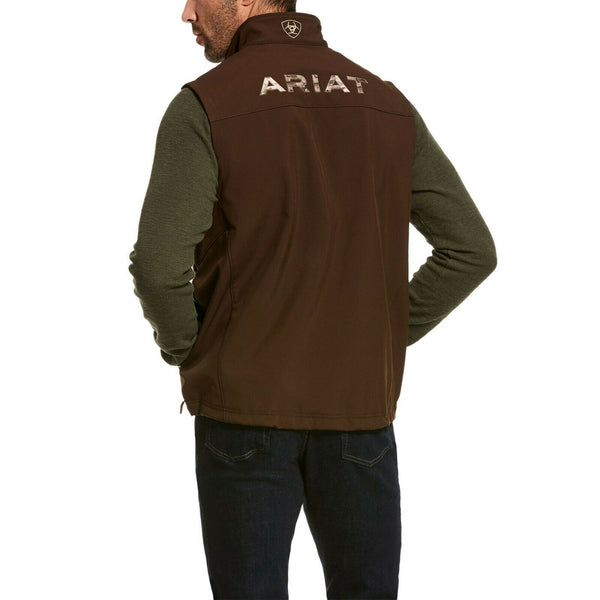 Ariat® Men's Logo 2.0 Softshell Dark Brew Brown Camo Vest 10028324