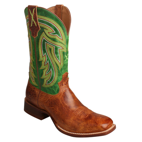 Twisted X Men's Rancher Cognac & Green Square Toe Boots MRAL013