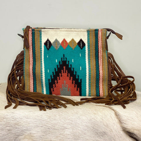 American Darling Turquoise Aztec Saddle Blanket Crossbody ADBG236E