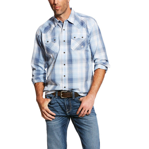Ariat® Men's Retro Casual Series Blue Plaid Button Up Shirt 10025625