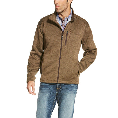 Ariat® Men's Caldwell Full Zip Fossil Brown Sweater Jacket 10020643