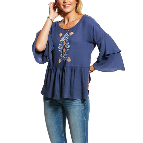 Ariat® Ladies Indigo Blue Fade Saloon Top 10026593