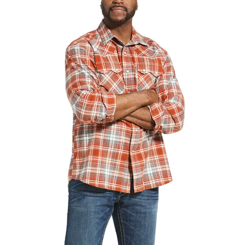Ariat® Men's Red Ochre Retro Hadden Snap Shirt 10032892