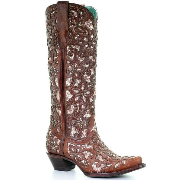 Corral Ladies Tan Inlay, Embroidery & Studs Tall Top Boots A3675