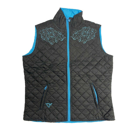Cowgirl Hardware Ladies Black Simple Cross Quilted Vest 286124-010