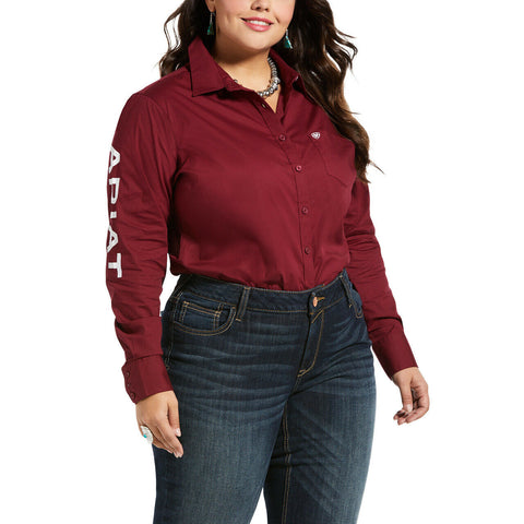 Ariat® Ladies Burgundy Team Kirby Stretch Button-Up Shirt 10033061