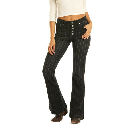 Rock & Roll Cowgirl Dark Denim Striped High Rise Pants WHN3426
