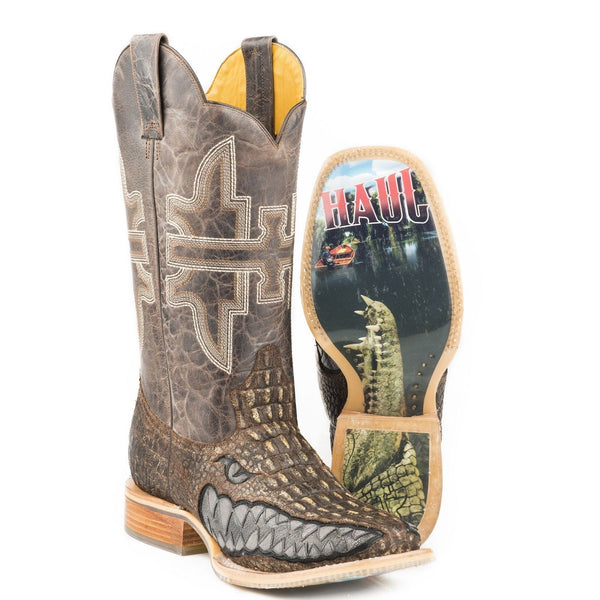 Tin Haul Men's Swamp Chomp Alligator Print Boots 14-020-0007-0340 - Wild West Boot Store