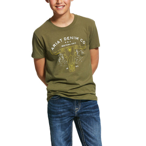 Ariat® Kids Military Green Western Grit T-Shirt 10031710