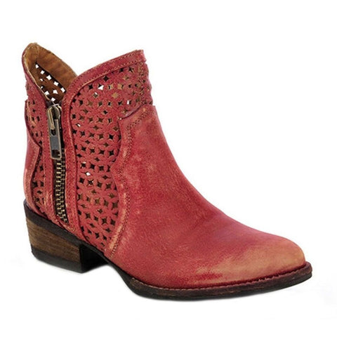 Circle G by Corral Ladies Red Laser Cutout Shortie Boot Q0003 - Wild West Boot Store