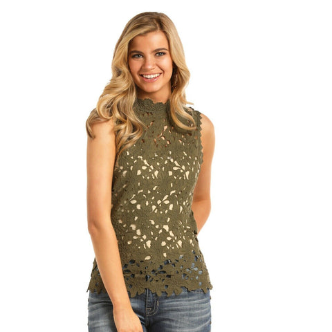 Rock & Roll Cowgirl Ladies Green Scallop Hem Lace Tank B5-6073