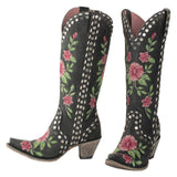 Junk Gypsy by Lane Ladies Floral Studded Black Boots JG0053A