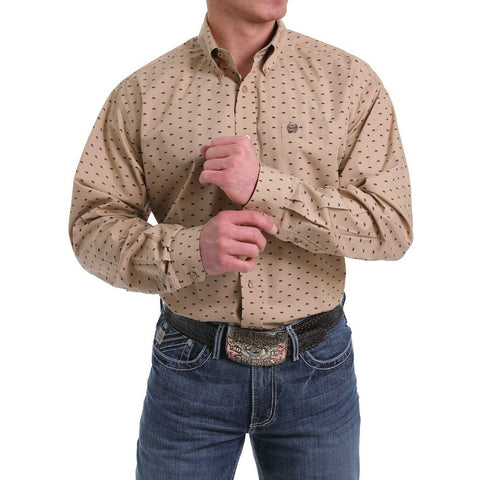 Cinch Men's Khaki Bison Print Western Shirt MTW1104989