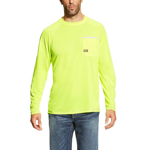 Ariat® Men's Rebar Sunstopper Lime Long Sleeve Work T-Shirt 10019136