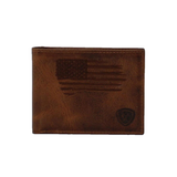 Ariat Men's Brown USA Flag Leather Bi-Fold Wallet A3545602