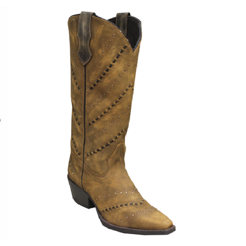 Rawhide by Abilene Ladies Tan Fashion Designer Lacing Cowgirl Boot 5142 - Wild West Boot Store