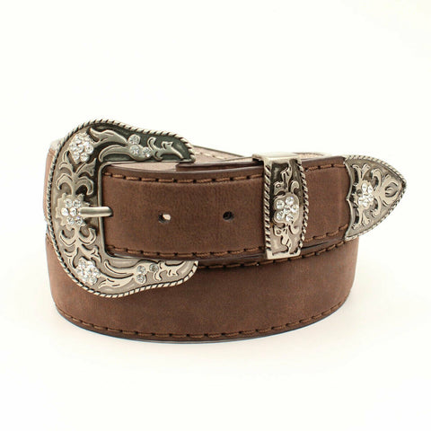 Ariat Ladies Brown Leather With Silver Buckle Set Belt A1528602