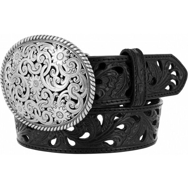 "Tony Lama Ladies Pierced Filigree 1 1/2"" Black Trophy Belt C50023"