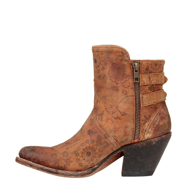 Lucchese Ladies Catalina Brown Floral Printed Shortie Boot M4953 - Wild West Boot Store - 4