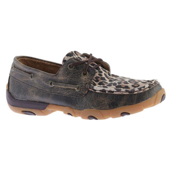 Twisted X Ladies Distressed Brown & Leopard Print Driving Mocs WDM0057 - Wild West Boot Store - 1