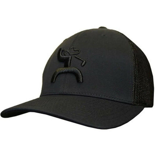 Hooey Iron Roughy Black With Black Mesh Trucker Golf Hat 1669T-BK