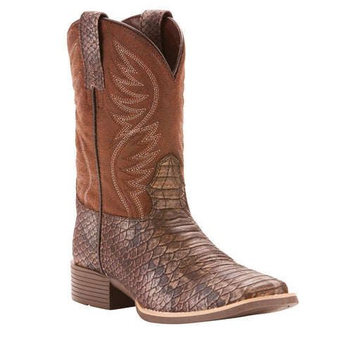 Ariat® Kid's Brumby Legarto Gunmetal Faux Snake Brown Boots 10025170 - Wild West Boot Store