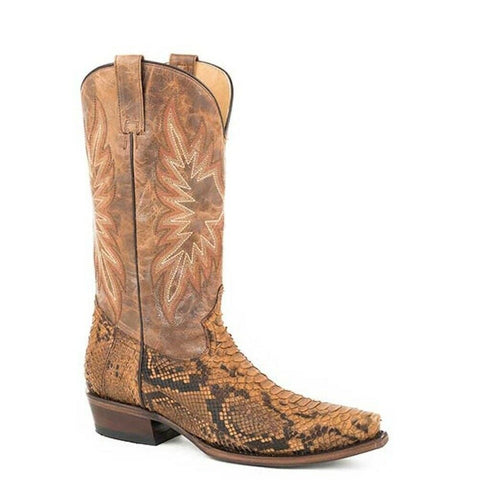Stetson Men's Oily Tan Python Back Boots 12-020-6118-4232