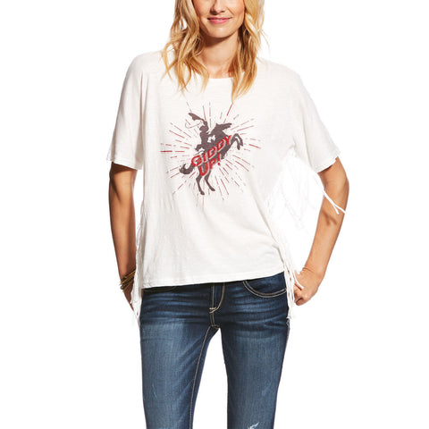 Ariat Ladies Giddy Up Snow White Fringe Graphic Tee 10022797 - Wild West Boot Store
