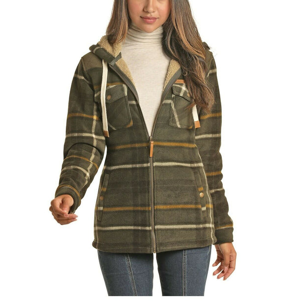 Powder River Outfitters Ladies Fleece Green Plaid Jacket 52-6696