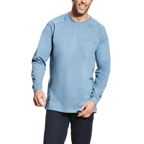 Ariat® Men's FR Air Crew Steel Blue Long Sleeve T-Shirt 10022330