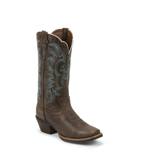 Justin Ladies Sevana Brown Square Toe Boots SVL7316