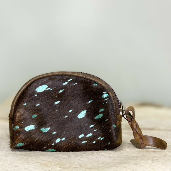 American Darling Brown and Turquoise Cowhide Pouch ADBG472ACTRQ