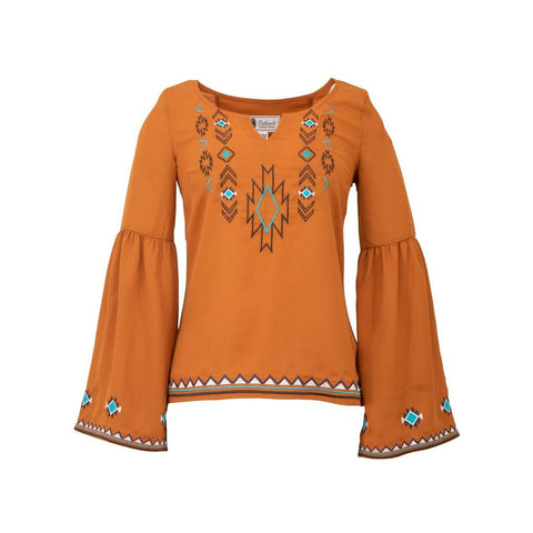Outback Trading Ladies Orange Tess Blouse 40185-PUM