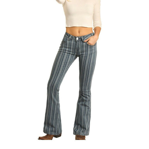 Rock & Roll Cowgirl Mid Rise Flare Jeans W1F4124