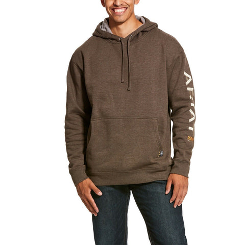 Ariat® Men's Rebar Graphic Logo Banyan Bark Brown Hoodie 10027823